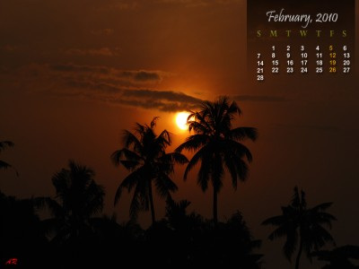 Sunrise Theme - February 2010 Calendar